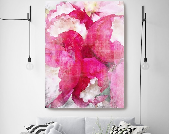 Hot Pink Peony Watercolor Painting Print, watercolor peony, watercolor floral, peony canvas print, peony gift, Blushing Beauty shabby chic
