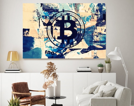 Cryptocurrency Bitcoin Graffiti Art, Cryptocurrency Bitcoin  Artwork, Motivational office art,  Bitcoin Canvas Print, Cryptocurrency Gifts