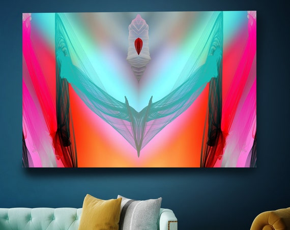 Surrealist Art Neon Colors, New Media Pattern Art, Abstract Painting, Abstract Art, Large Canvas Art Symmetrical pattern 1, Office Decor