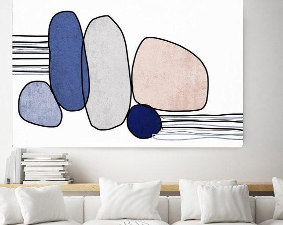 Nordic Canvas Print Art, Minimalism Pink Blue Nordic Wall Art, Scandinavian Modern, Modern Print, Large Abstract Navy Blue Art Minimalist