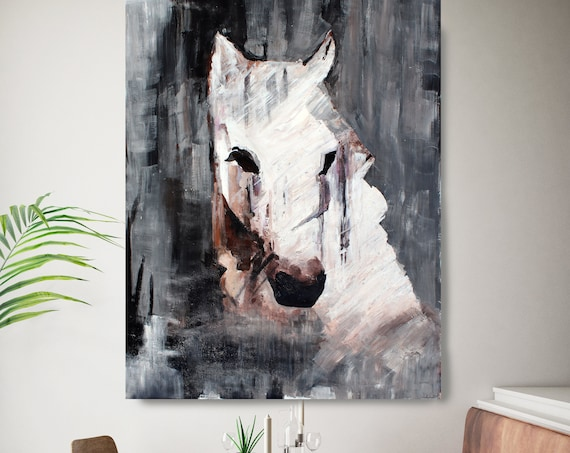 """Queen Horse - Oil Painting on Canvas, White Horse Portrait 72 H X 48"""" W,  Rolled"""