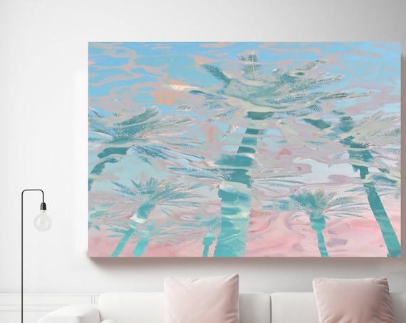 In harmony with nature - Pink Blue Palms, Jungle, Tropical Art, Pink Palms Canvas Art Print, Coastal Art Beach, California Summer Palm Art
