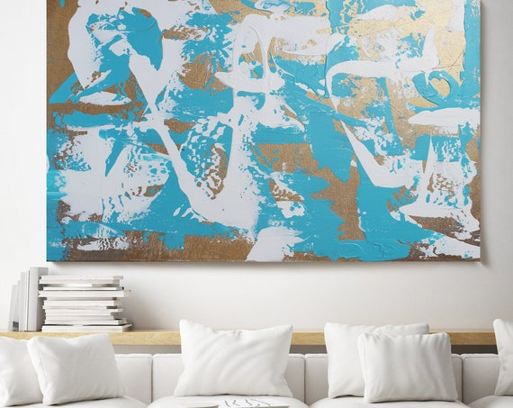 Blue White Golden Splash Abstract Painting, Gold Modern Art /Abstract Painting / Extra Large Gold Canvas Print Extra Large Gold Abstract Art