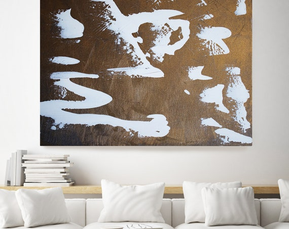 Gold Abstract Painting, Gold Bold Modern Art / Abstract Painting / Extra Large Gold Canvas Print Extra Large Gold Abstract Art