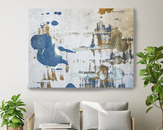Blue Essence Gray Gold Blue Abstract Painting  Modern Art Abstract Painting Extra Large Painting Extra Large Abstract Canvas Print