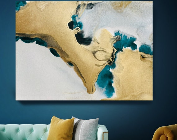 Gold in Blue Watercolor Abstract 5, Wall Art Decor Gold Abstract Painting Large Wall Art Abstract Canvas Print Gold Teal Artwork for Home