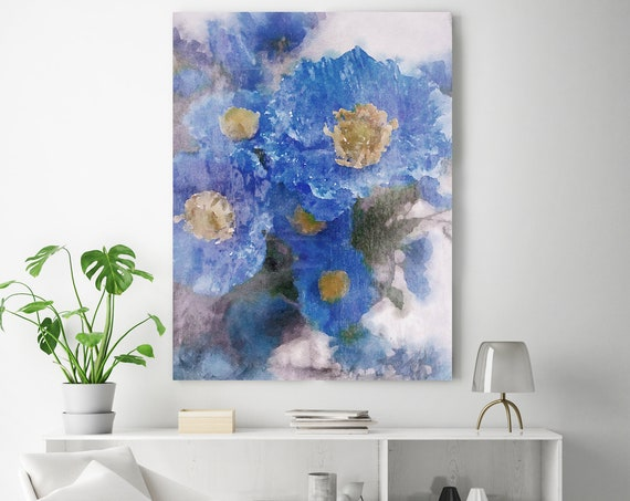 Pleasing Blue Flowers, Blue floral painting blue floral art shabby chic Blue Floral Art, Blue Rustic Flowers Canvas Print Watercolor Flowers