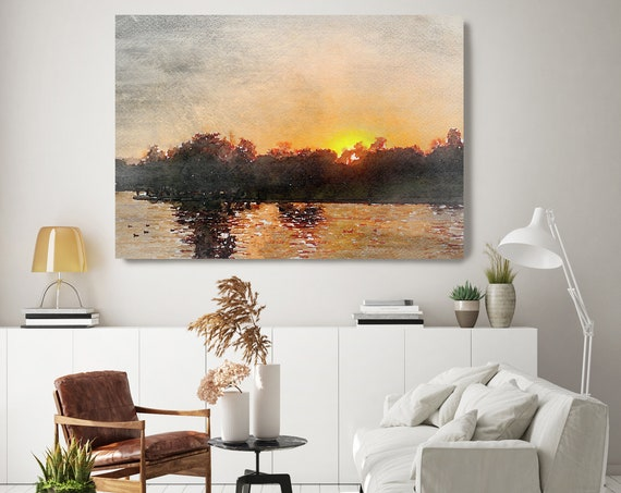 Sunset seascape art, coastal watercolor landscape painting Watercolor Canvas Art Print Sunset painting on canvas, Silence of the Nature 2