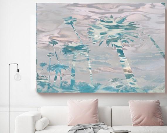 California Palm Art, Coastal Wall Art, Summer Art, Tropical Art, Ocean Beach Art, Modern Decor, Jungle, Pink Blue Palms Canvas Art Print