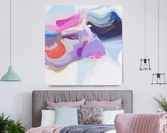 Abstract Purple Painting on Canvas, Flow Abstract Painting, Large Art Print On Canvas, Abstract Centerpiece Clear aesthetic