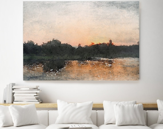 Seascape painting, gold landscape art, coastal watercolor landscape painting Watercolor Canvas Art Print Time Lapse During Sunrise