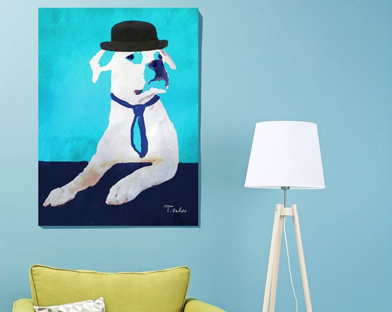 Dog Art, Dog Art Print on Canvas, Dog in Hat, Dog Painting Print, Dog in Blue