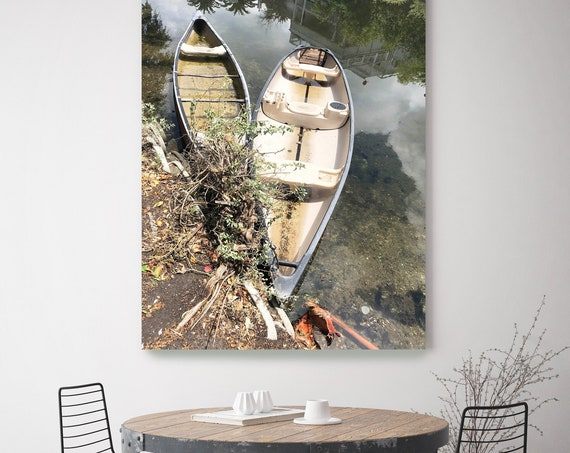Two Old Boats Rustic Boat Photography Beach Decor Coastal Wall Canvas Art Print, Fishing Boat, Seascape Art, nautical, Boat wall art