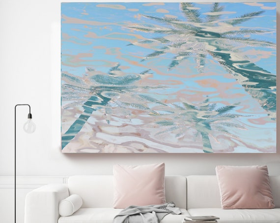 Coastal Wall Art with Pink Palms, Reflected Water, . Summer California Beach Palms Canvas Art Print. Tropical Ocean Art, Jungle Art