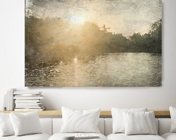 Seascape painting, golden landscape art, coastal watercolor landscape painting Watercolor Canvas Art Print Sunrise Over the trees