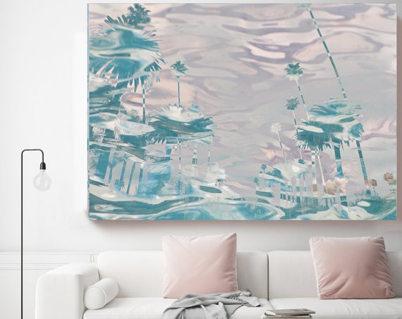 California Palm Art, Blue Palm Tree, Palm Trees, Palm Tree Canvas Print,Tropical Art,Palms,Tropical Decor, California Wall Art, Pink Water