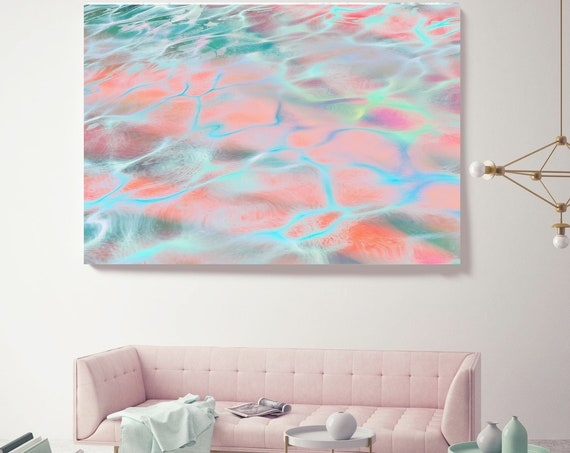 Dream Pink Water Abstract Water Waves, Reflected Water, Canvas Art Print. Aqua Pink Water Art