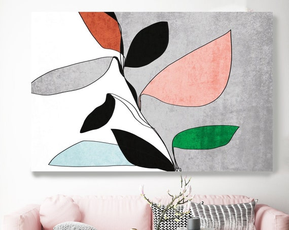 Abstract Bloom 3. Line Art Canvas Print, Blue Grey Pink Red Modern Minimalist Abstract Wall Art Canvas Print Textured Artwork