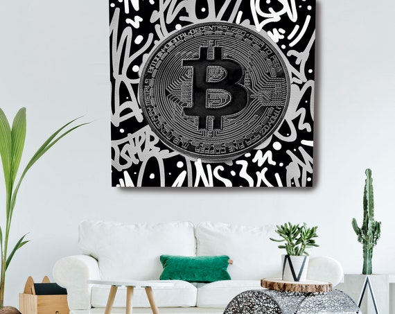 Black White Bitcoin Digital Currency Canvas Print, Cryptocurrencies Textured Art, Cryptocurrency Bitcoin Graffiti, Print on Canvas
