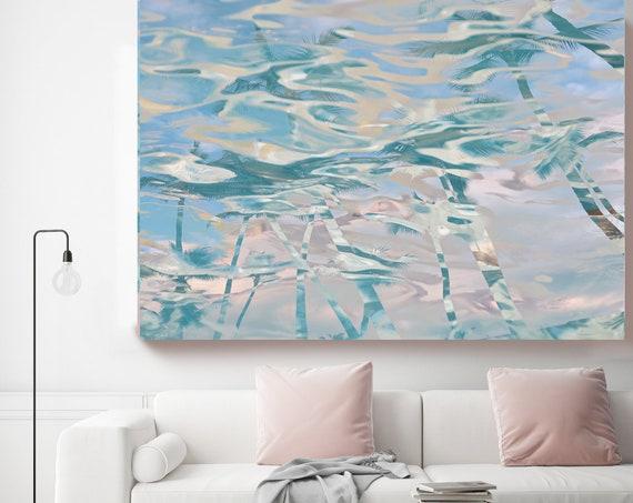 Blue Pink Palms Reflection, Jungle, Tropical Art, Pink Blue Palms Canvas Art Print, Coastal Art Beach, California Summer Palm Art