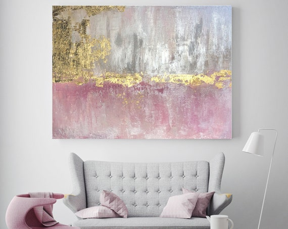 "Gold Pink Abstract Original Painting on Canvas 48 x 36"", Gold Pink Silver Glitter Abstract Art, Irena Orlov Original Painting"