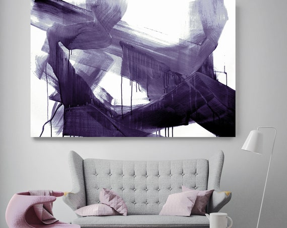 Modern Purple Abstract Painting, Purple Bold Modern Art Abstract Painting Extra Large Purple Painting Large Purple Abstract Canvas Print