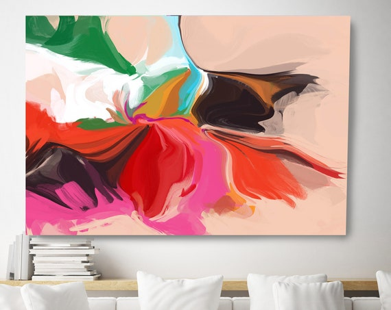Slow Dancing, Abstract Painting Trending Now Colorful Vibrant Flow Artwork Canvas Art Print Contemporary Flow Painting Large Canvas Print