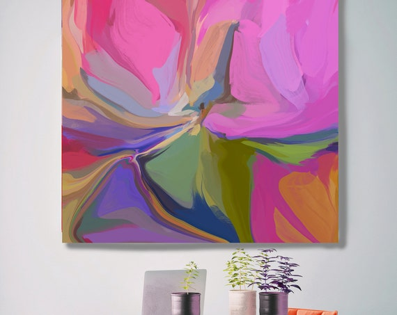 Abstract Painting Abstract Art Contemporary Art Modern Hot Pink Painting Expressionism Painting Canvas Print. Desert Mirage 24-2