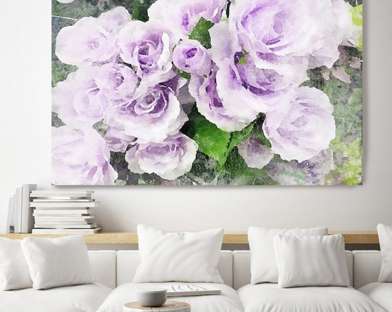 Sweet Violet Floral Watercolor Painting Print, watercolor painting, watercolor roses, floral canvas print, shabby chic canvas print