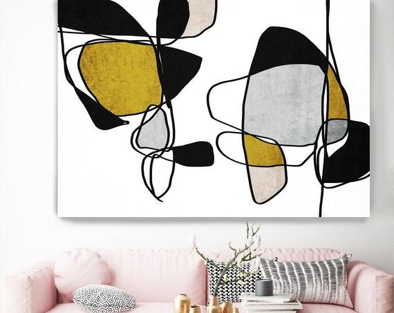 Abstract Line Art 7. Line Art Canvas Print, Gold Black Modern Minimalist Abstract Wall Art Canvas Print Textured Artwork