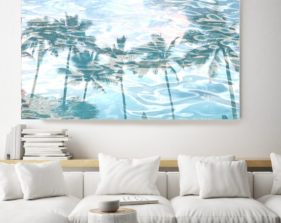 Jungle Art, Tropical Art, Blue Palms Canvas Art Print, Coastal Art Beach, California Summer Palm Art, Palms reflection 10
