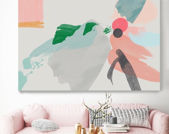 Abstract thoughts 1, Abstract Painting Gray Pink Modern Art Abstract Painting Large Pink Green Painting Extra Large Abstract Canvas Print