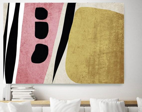 Pink abstract nordic, Gold Grey Nordic Wall Art, Scandinavian Modern, Modern Canvas Print, Large Abstract Gold Pink Art Minimalist