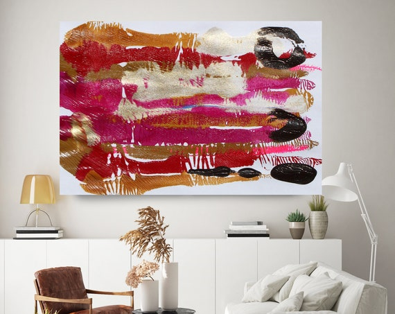 Hot Pink Gold Reflection, Gold Hot Pink, Abstract Painting  Modern Art Abstract Painting Extra Large Painting Abstract Canvas Print