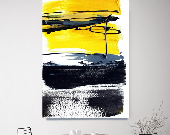 Yellow Black Trend Art Modern Abstract Wall Art Decor, Abstract Painting Canvas Print, Abstract Painting Art, Wall Art, Spirit of my dream