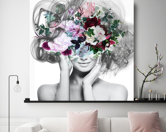 Woman Floral Portrait, Flower head woman Canvas Print, Sexy wall art, Still life with Bliss, Floral Head Woman Print, Woman Fashion Art