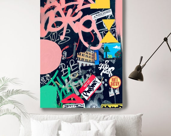 Street Art, Graffiti Wall Art Pink Black Street Art Painting Print on Canvas, Large Canvas Print, Urban Canvas Print, Out of Meaning