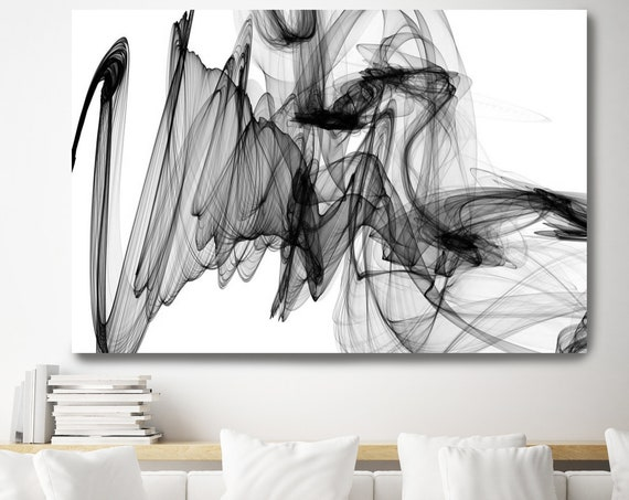 The Invisible World-Movement, 45H x 60W inch, Innovative ORIGINAL New Media Abstract Black And White Painting on Canvas Minimalist Art