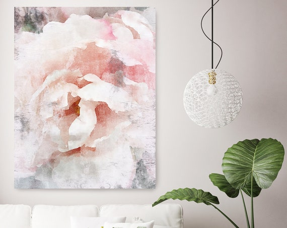 Peony Watercolor Painting Print, watercolor pink peony, watercolor floral, peony canvas print, peony gift, Blushing Beauty shabby chic