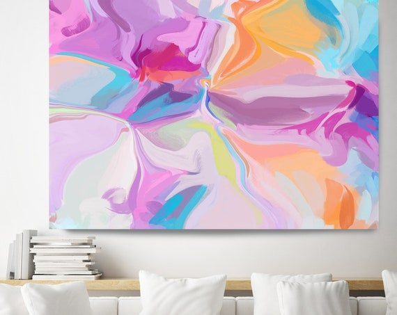 Pink Blue Yellow Abstract Wall Art Pink Abstract Canvas Print, Energy Flow Wall Art, Abstract Art, Contemporary Art, Rhythm of the violinist