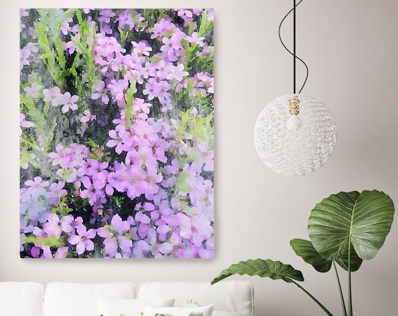 A garden in purple bloom Floral Watercolor Painting Print, watercolor painting, watercolor floral canvas print, shabby chic canvas print