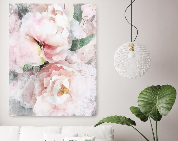 Blush Pink Wall Art Peony Floral Painting for Farmhouse Decor Peony Watercolor Painting Print peony canvas print Blushing Beauty shabby chic
