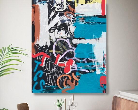 Graffiti Street Art, Colorful Street Art Painting Print on Canvas, Large Canvas Print, Graffiti Style Painting, The Word On The Street 4