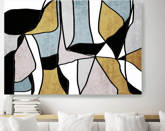 Gold Teal Abstract Art Gold Nordic Wall Art, Scandinavian Modern, Modern Canvas Print, Large Abstract Gold Black Art Minimalist Lost in time
