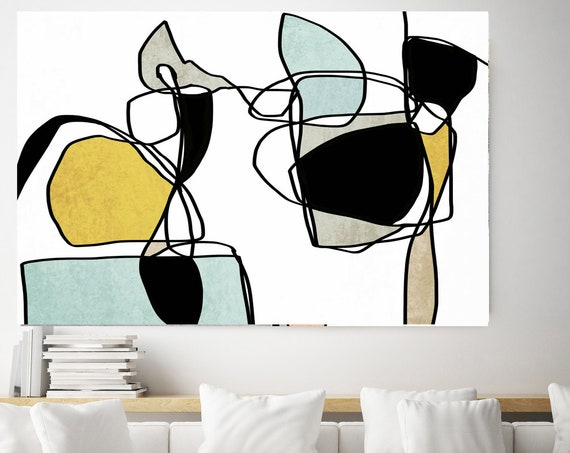 Abstract Line Art 13. Line Art Modern Colorful Canvas Art Print Scandinavian print Minimalist abstract Wall decor Blue Yellow Minimalist Art
