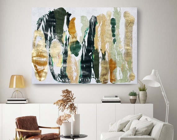 A calm day 10, Green Gold Abstract Painting  Modern Art Abstract Painting Extra Large Painting Extra Large Abstract Canvas Print