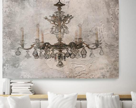 Rustic Brown Chandelier, Chandelier painting, Shabby Chic chandelier, Brown Chandelier Canvas Print, Chandelier Wall Decor