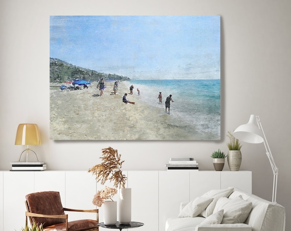 On the Beach. California Rustic Seascape Painting Canvas Art Print, Seascape Canvas Art Print, Beach Art, Beach Painting, Coastal Artwork