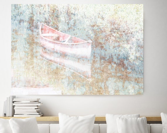 Boat in the fog, Rustic Boat Art, Beach Decor, Boat, Coastal Wall Canvas Art Print, Fishing Boat, Seascape Art nautical ocean beach Art
