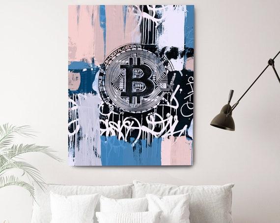 Blue Pink Bitcoin Graffiti Abstract Canvas, Cryptocurrency Bitcoin Graffiti, Art Painting Print on Canvas, Bitcoin Artwork Canvas Print